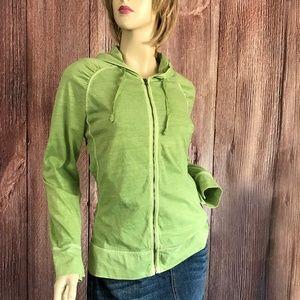 Woolrich Green Light Weight Zipped Hoodie Small